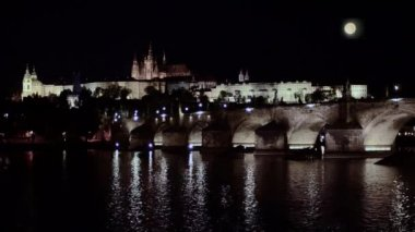 Prague by night — Stock Video