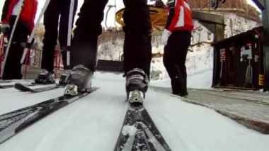 Getting on the chairlift — Stock Video