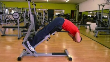 Exercises for back muscles. Man at the gym. — Vídeo de stock