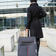 Young woman with baggage — Stock Photo