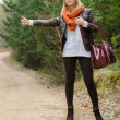 Pretty girl hitchhiking  — Stock Photo