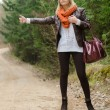 Pretty girl hitchhiking — Stock Photo #35913449