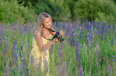 Young beautiful woman with camera in the lupine field — Stock Photo