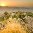 Mountain town Caltabellotta (Sicily, Italy) in the sunrise. Church of San Salvatore — Stock Photo