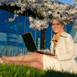 Young pretty woman with laptop — Foto de Stock
