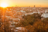 First days of winter in Vilnius, Lithuania. The sunset — Stock Photo