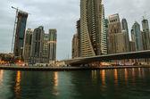 Dubai Marina in the sunset — Stock Photo