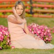 Stock Photo: Young womin Dubai Miracle Garden