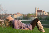 Young sexy woman relaxing in Vilnius, Lithuania — Stock Photo