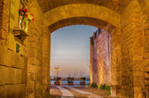 Old Town of Alghero (Sardinia) at night — Stock Photo