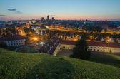 Aerial night panorama of Vilnius, Lithuania — Stockfoto
