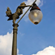 Lamp Post, Light Pole , against blue sky, Thai art — Stock Photo
