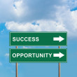 Stock Photo: Success and opportunity green road sign