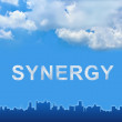 Synergy text on clouds — Stock Photo