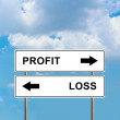 Profit and loss road sign — Stock Photo