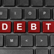 Debt word on keyboard — Stockfoto
