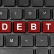 Debt word on keyboard — Stock Photo