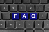 FAQ or Frequently asked questions word on keyboard — Stok fotoğraf