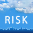 Risk text on cloud — Stock Photo