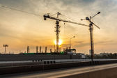 Cranes at Construction site — Photo