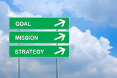 Goal mission and strategy on green road sign — Stockfoto