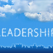 Leadership text on cloud with blue sky — Stock Photo