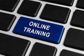 Botão de treinamento on-line no teclado — Fotografia Stock
