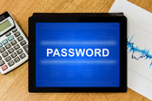 Password on digital tablet — Stock Photo