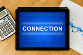 Connection word on digital tablet — Stock Photo