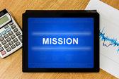 Mission word on digital tablet — Stock Photo