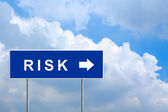 Financial risk on green road sign — Stock Photo