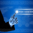 Business hand clicking risk assessment button on touch screen — Stock Photo #50232125