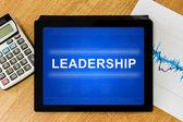 Leadership word on digital tablet — Stock Photo