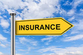 Yellow road sign with insurance words — Stock Photo