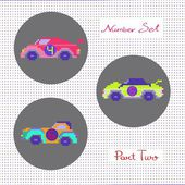 Number set ,cars — Stock Vector