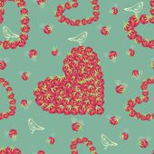 Raspberry hearts pattern — Vector de stock