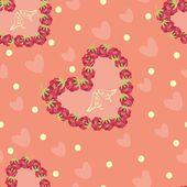 Raspberry hearts pattern — Stock Vector