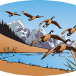 Stock Vector: Geese and Mountains