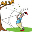 Goofy Golfer hits tree — Stock Vector
