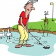 Water Hazard Golfer — Stock Vector