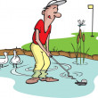Stock Vector: Water Hazard Golfer
