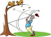 Goofy golfer hits baum — Stockvektor