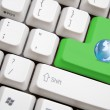 Keyboard with green earth button — Stock Photo