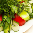 Stock Photo: Green salad on white plate