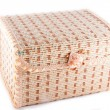 Wicker chest isolated on white background — Stock Photo