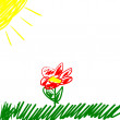 Child's drawing flower — Stock Photo