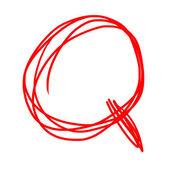 Rote buchstaben q isoliert auf weiss — Stockfoto