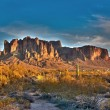 Stock Photo: Superstition mountain at sunset