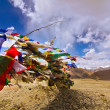 Prayer flags on himalayas and blue sky background — Stock Photo
