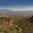 Stock Photo: Beautiful Roosevelt Lake in Apache trail in Arizona, US